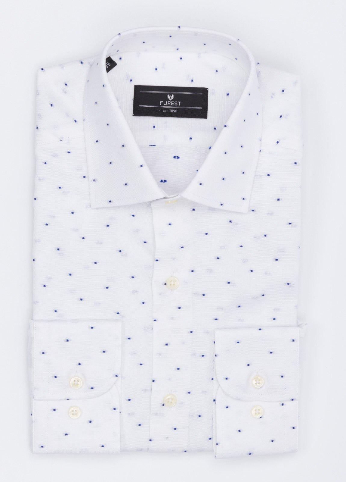 Camisa Formal Wear SLIM FIT cuello italiano modelo ROMA mini dibujo azul color blanco, 100% Algodón.
