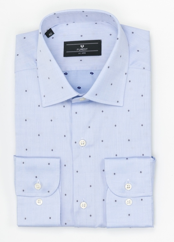 Camisa Formal Wear SLIM FIT cuello italiano modelo ROMA mini dibujo azul color celeste. 100% Algodón.