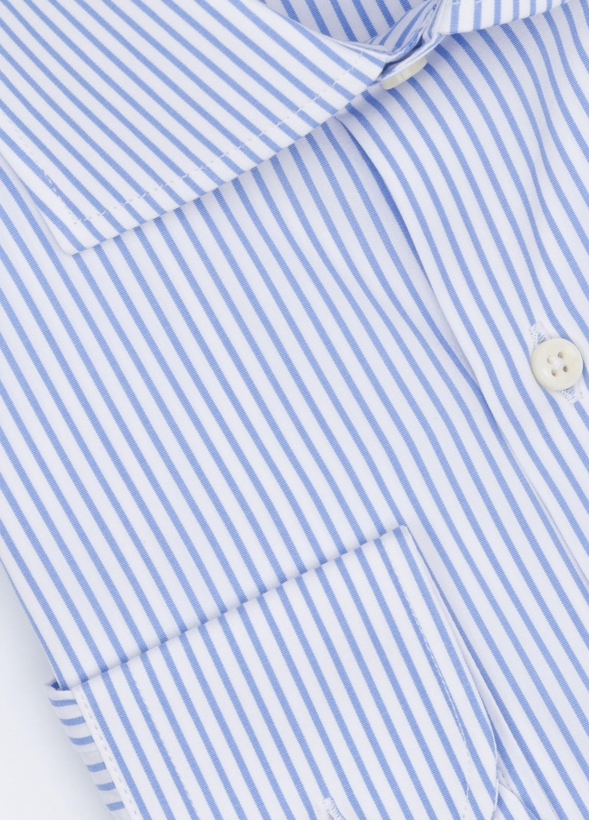 Camisa Formal Wear REGULAR FIT cuello roma modelo TAILORED NAPOLI, raya clásica color azul, 100% Algodón. - Ítem1