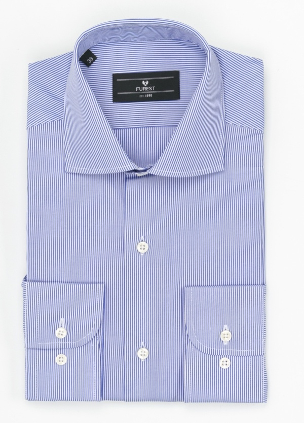 Camisa Formal Wear REGULAR FIT cuello roma modelo TAILORED NAPOLI, raya clásica color azul, 100% Algodón.