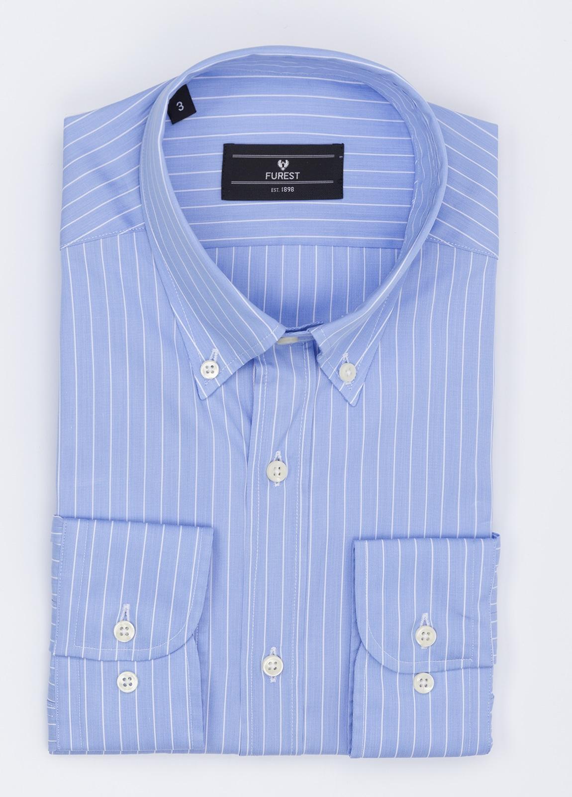 Camisa Formal Wear REGULAR FIT modelo BOTTON DOWN,con bosillo, color azul. 100% Algodón.