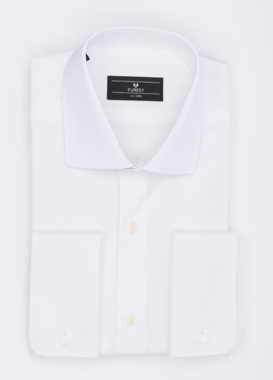 Camisa formal wear slim fit cuello italiano modelo tailored napoli. puño doble, diseño liso color blanco. 100% algodón