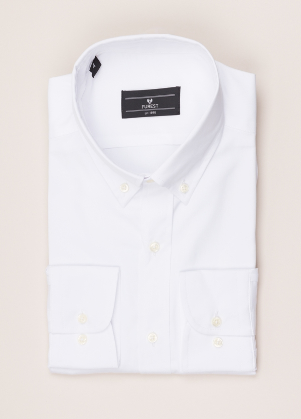 Camisa vestir FUREST COLECCIÓN REGULAR FIT cuello botón pin point blanco