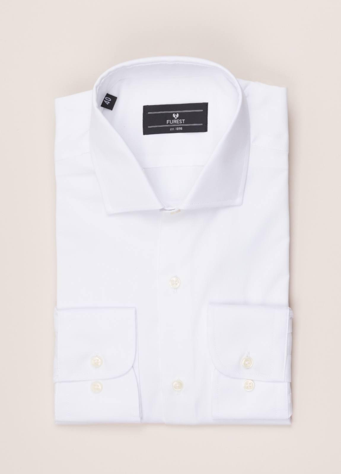 Camisa vestir FUREST COLECCIÓN REGULAR FIT cuello italiano Pin Point blanco