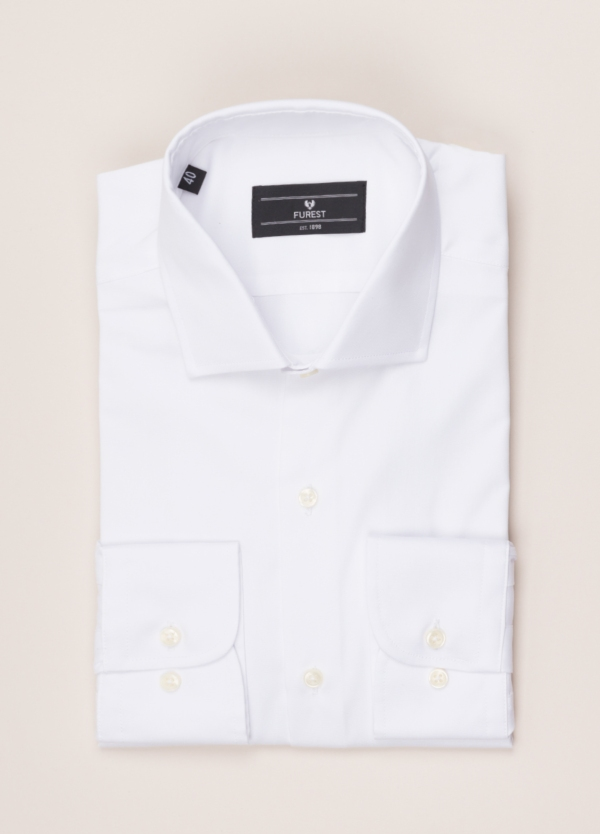 Camisa vestir FUREST COLECCIÓN REGULAR FIT cuello italiano Pin Point blanco