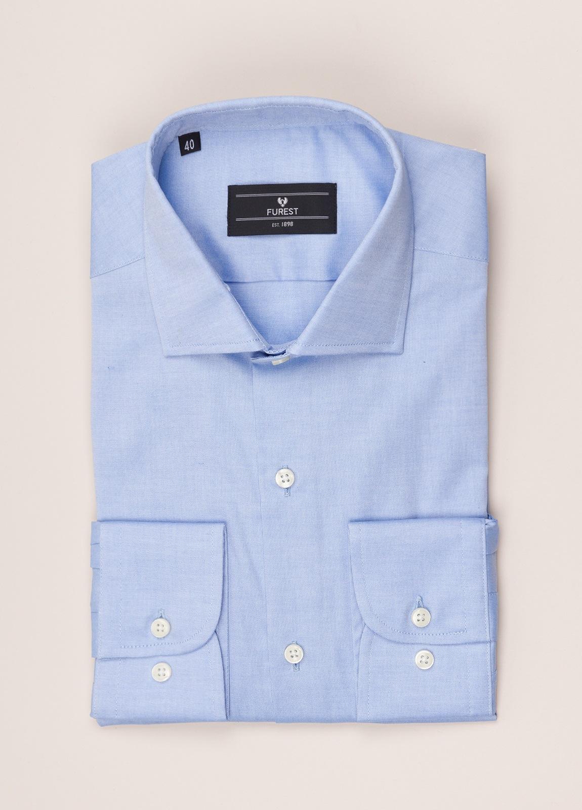 Camisa vestir FUREST COLECCIÓN REGULAR FIT cuello italiano Pin Point celeste