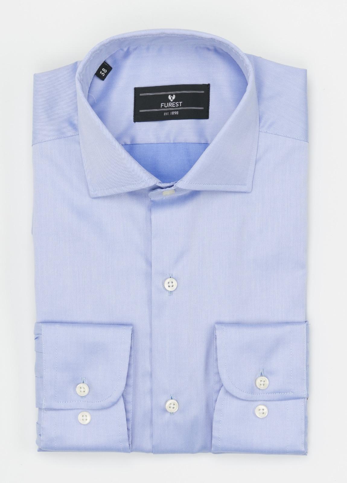 Camisa Formal Wear REGULAR FIT cuello italiano modelo TAILORED NAPOLI, diseño liso color azul celeste, 100% Algodón.