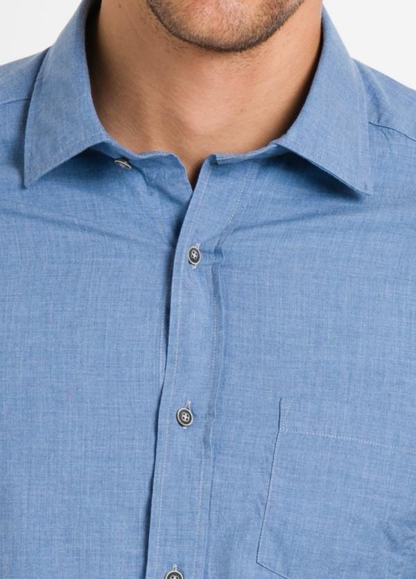 Camisa Leisure Wear REGULAR FIT modelo PORTO, lisa color azul. 100% Algodón. - Ítem2
