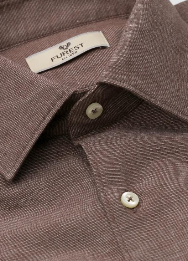 Camisa Leisure Wear REGULAR FIT modelo PORTO, tejido fil a fil color marrón. 100% Algodón. - Ítem4