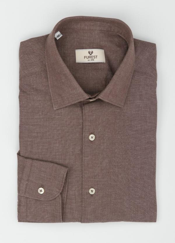 Camisa Leisure Wear REGULAR FIT modelo PORTO, tejido fil a fil color marrón. 100% Algodón. - Ítem1