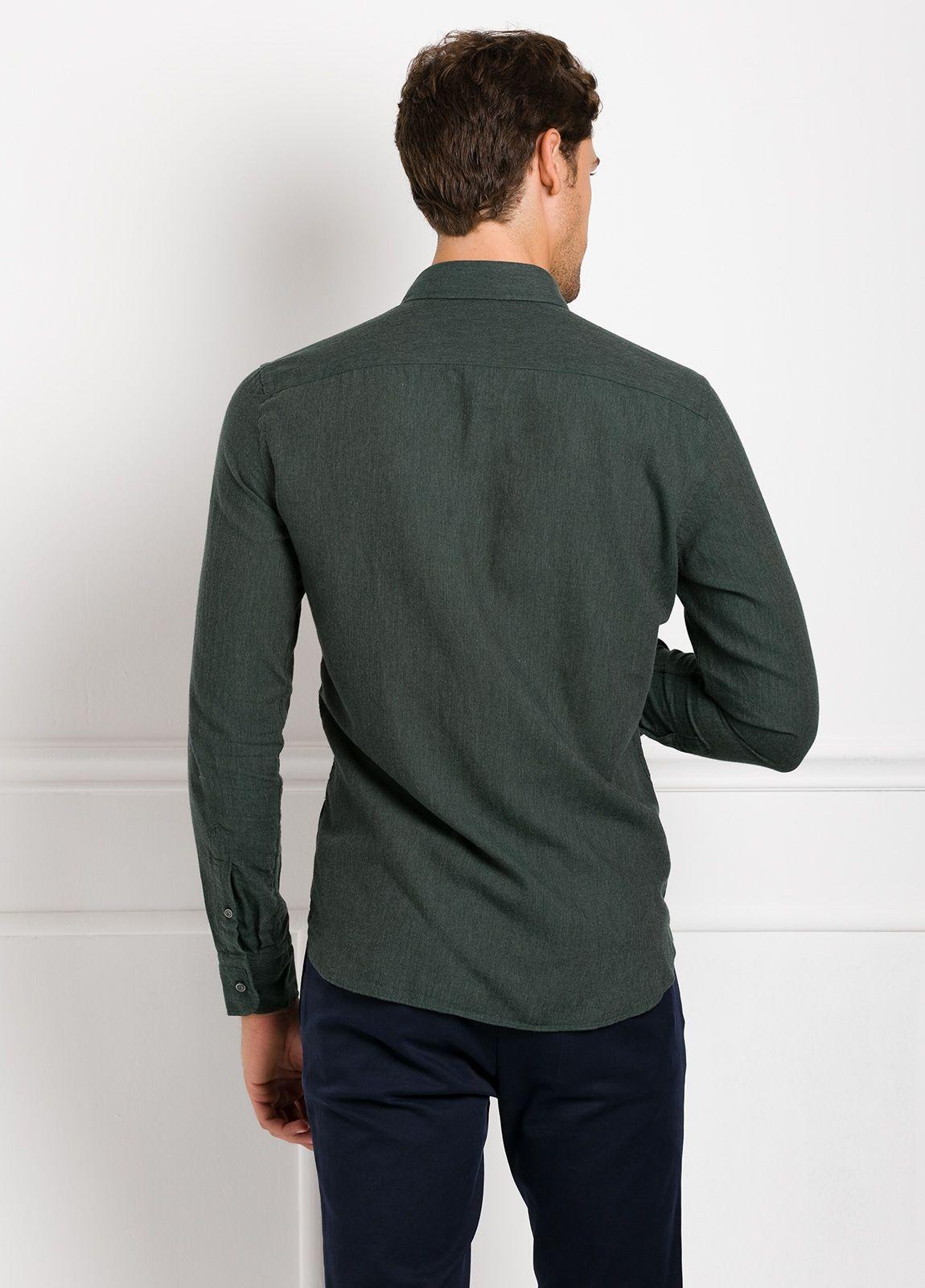 Camisa Leisure Wear REGULAR FIT BOTÓN DOWN, lisa color verde botella. 100% Algodón. - Ítem1