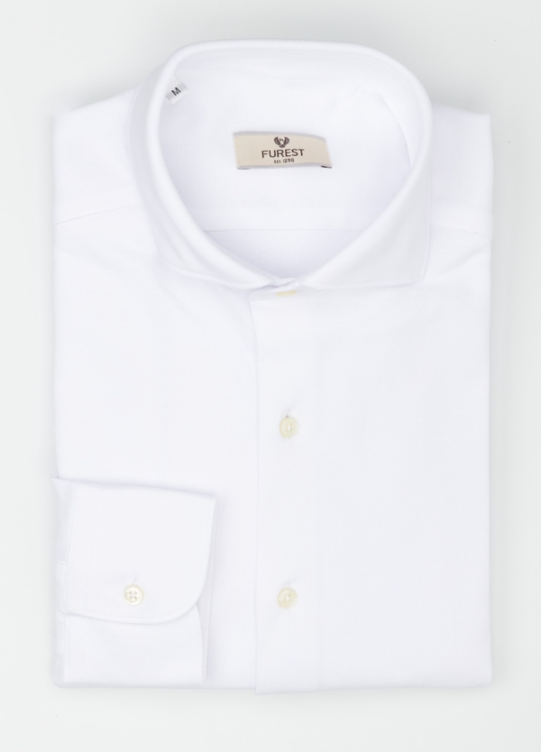 Camisa Leisure Wear SLIM FIT Modelo CAPRI tejido micro textura color blanco, 100% Algodón. - Ítem1