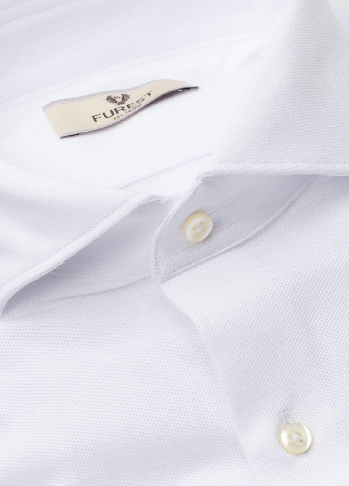 Camisa Leisure Wear SLIM FIT Modelo CAPRI tejido micro textura color blanco, 100% Algodón.