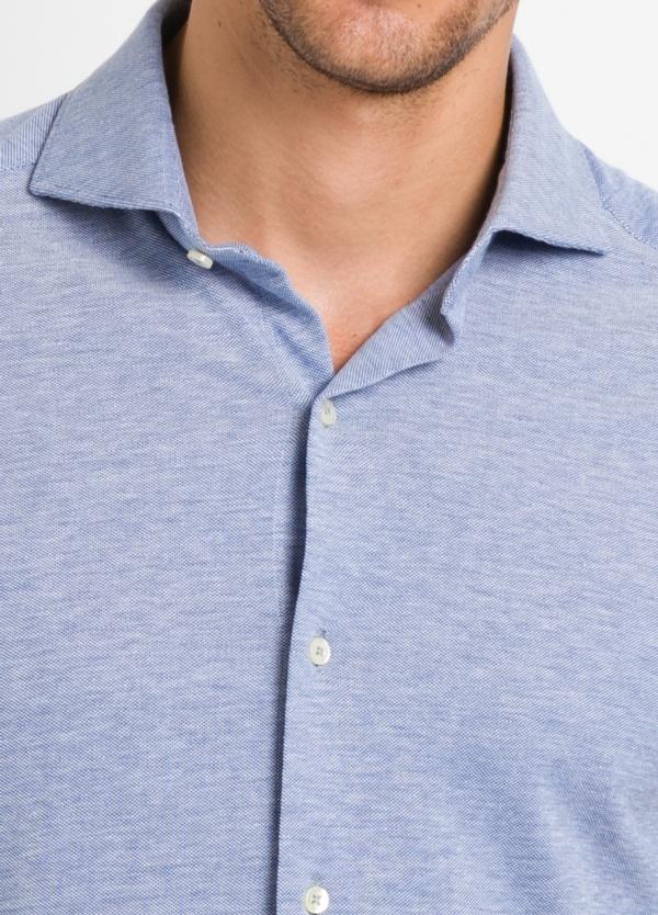 Camisa Leisure Wear SLIM FIT Modelo CAPRI tejido micro textura color azul celeste, 100% Algodón - Ítem4