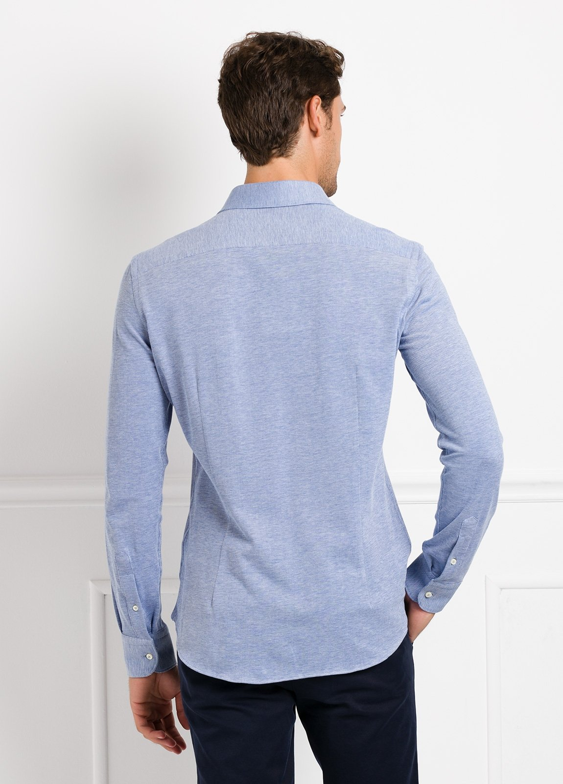 Camisa Leisure Wear SLIM FIT Modelo CAPRI tejido micro textura color azul celeste, 100% Algodón - Ítem1