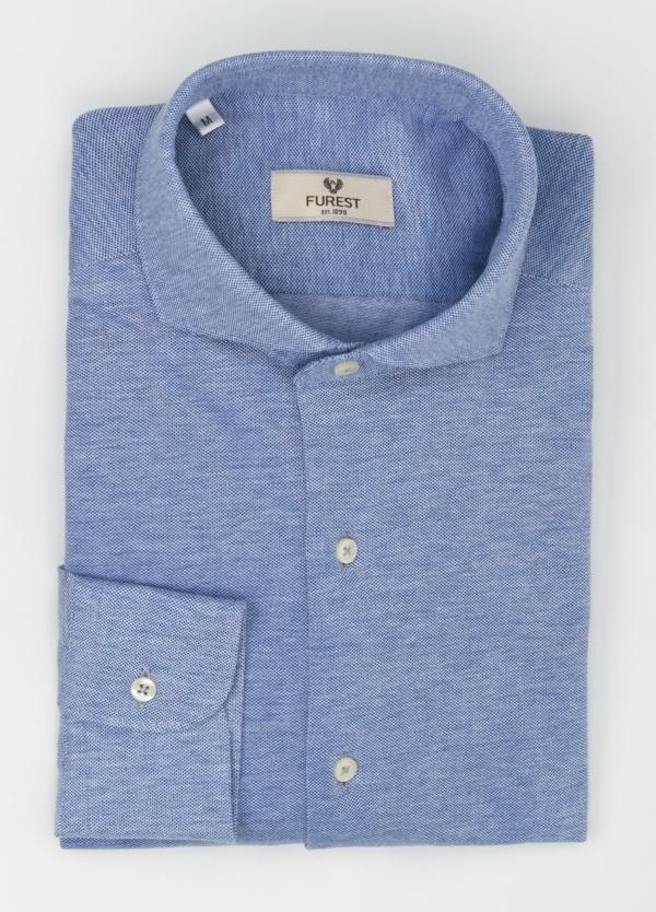 Camisa Leisure Wear SLIM FIT Modelo CAPRI tejido micro textura color azul celeste, 100% Algodón - Ítem3