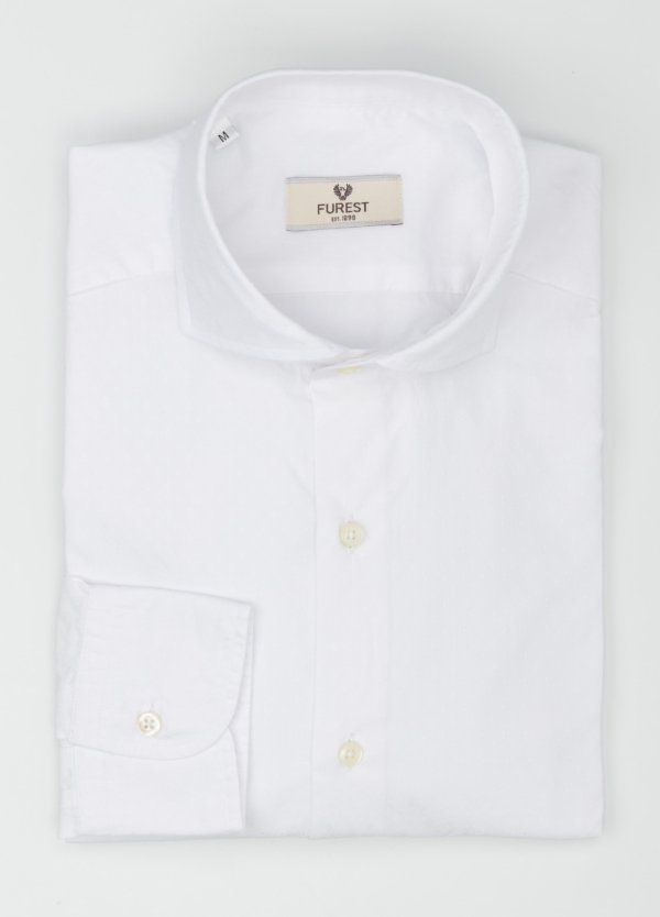 Camisa Leisure Wear SLIM FIT Modelo CAPRI tejido fil-coupe color blanco, 100% Algodón. - Ítem1