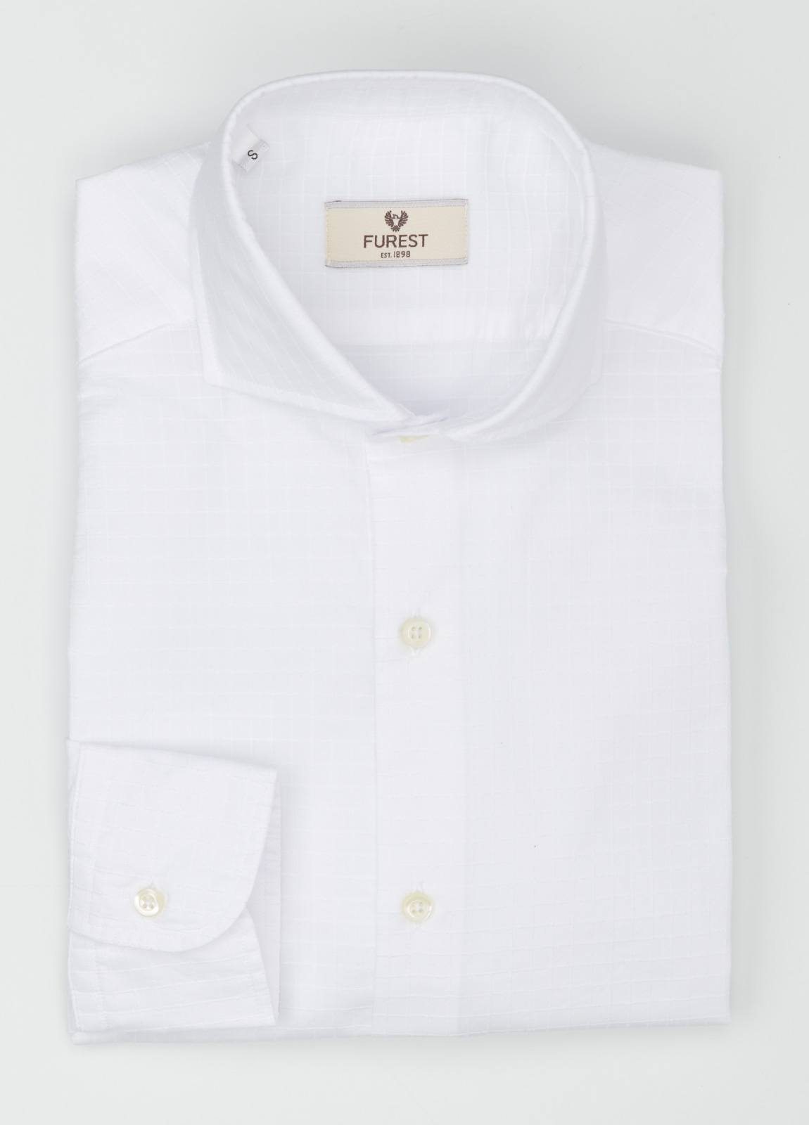 Camisa Leisure Wear SLIM FIT Modelo CAPRI tejido cuadro ventana color blanco, 100% Algodón. - Ítem1