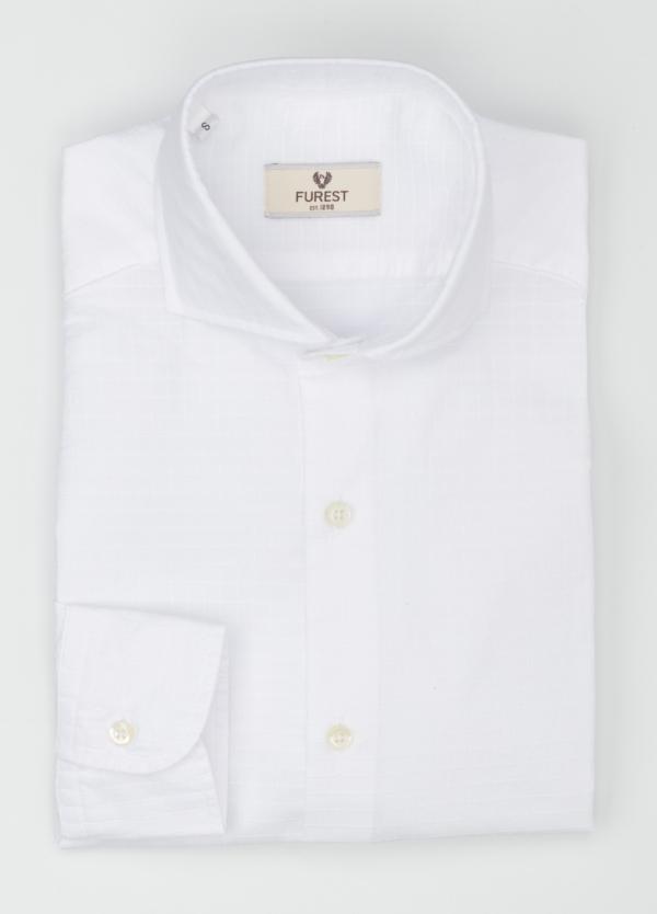 Camisa Leisure Wear SLIM FIT Modelo CAPRI tejido cuadro ventana color blanco, 100% Algodon. - Ítem1