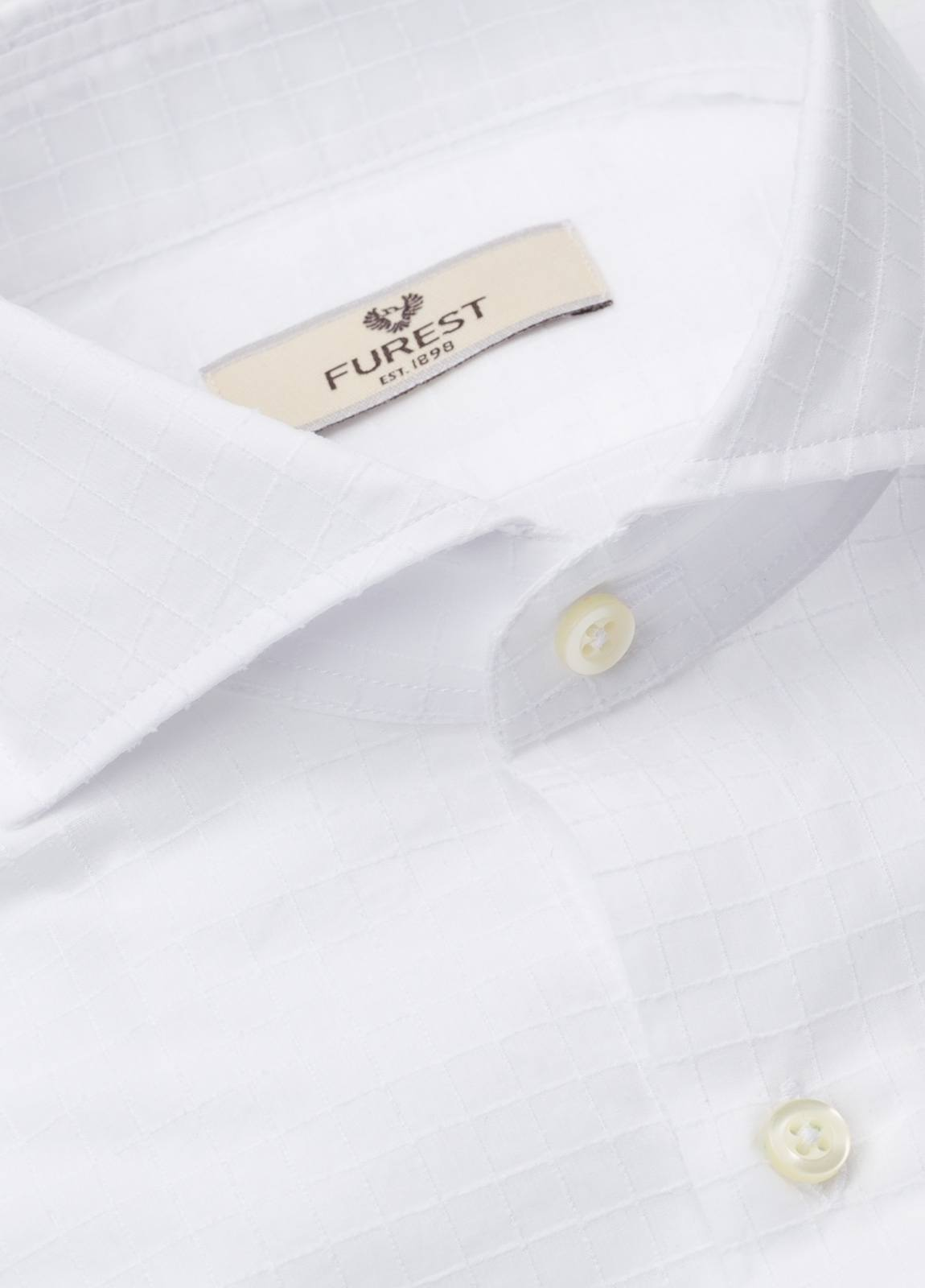 Camisa Leisure Wear SLIM FIT Modelo CAPRI tejido cuadro ventana color blanco, 100% Algodon. - Ítem3
