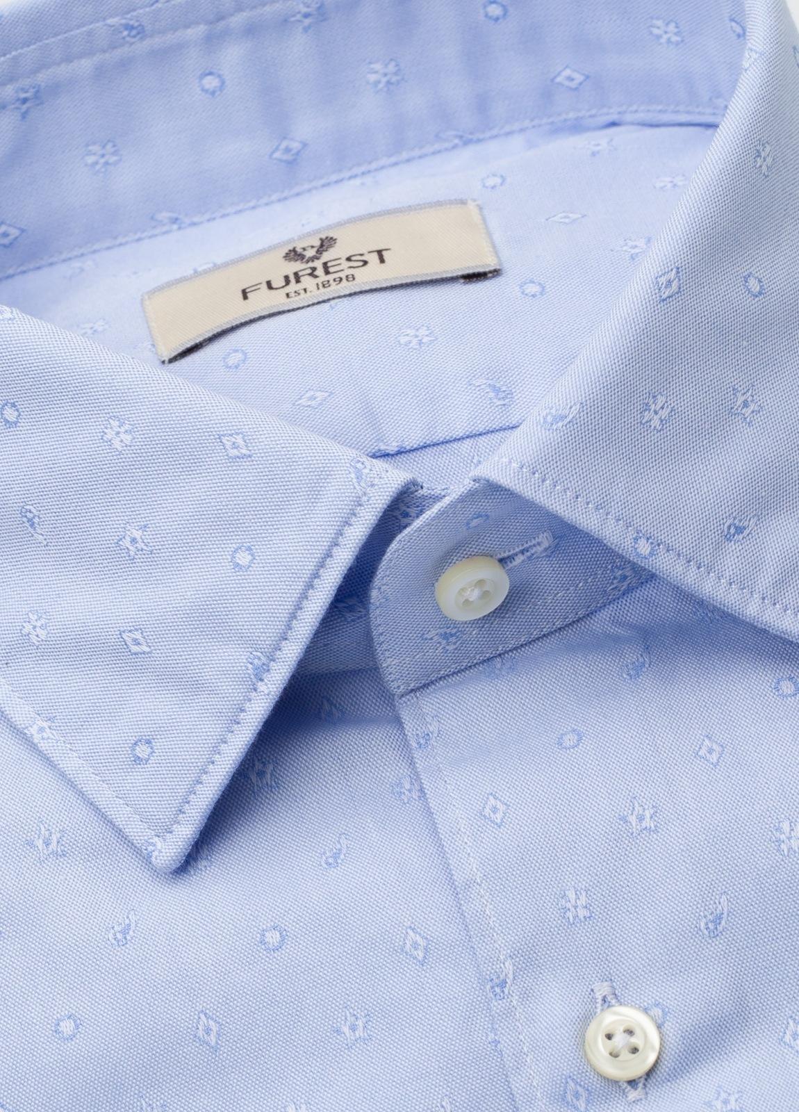 Camisa Leisure Wear REGULAR FIT modelo PORTO tejido dibujo jacquard color celeste. 100% Algodón. - Ítem1