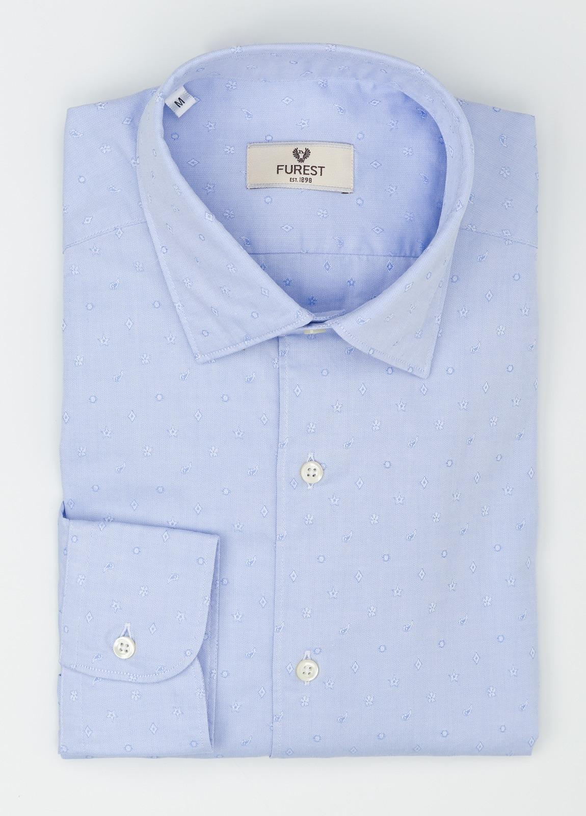 Camisa Leisure Wear REGULAR FIT modelo PORTO tejido dibujo jacquard color celeste. 100% Algodón. - Ítem4