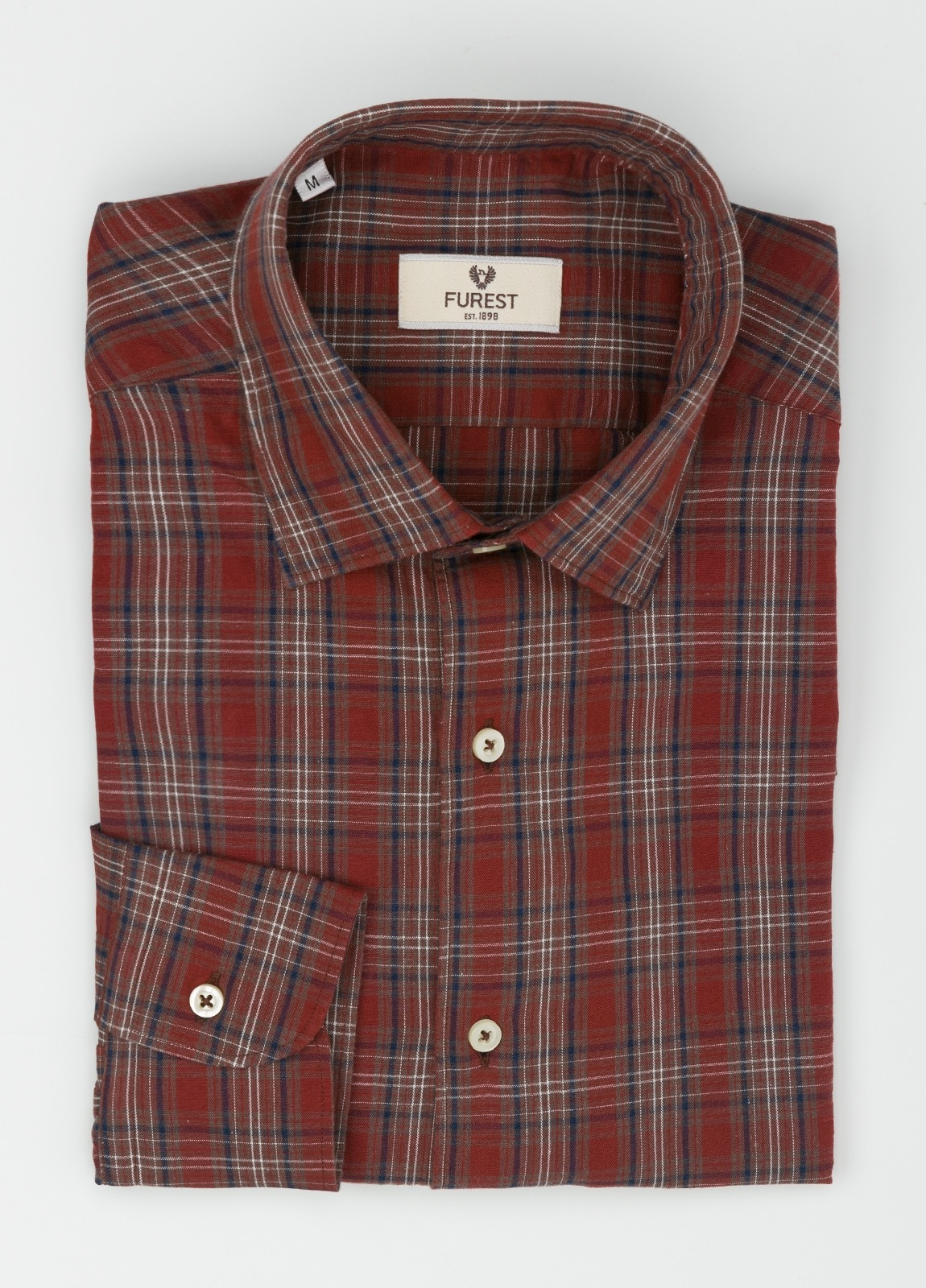 Camisa Leisure Wear REGULAR FIT modelo PORTO, cuadros granate, marrón. 100% Algodón. - Ítem1