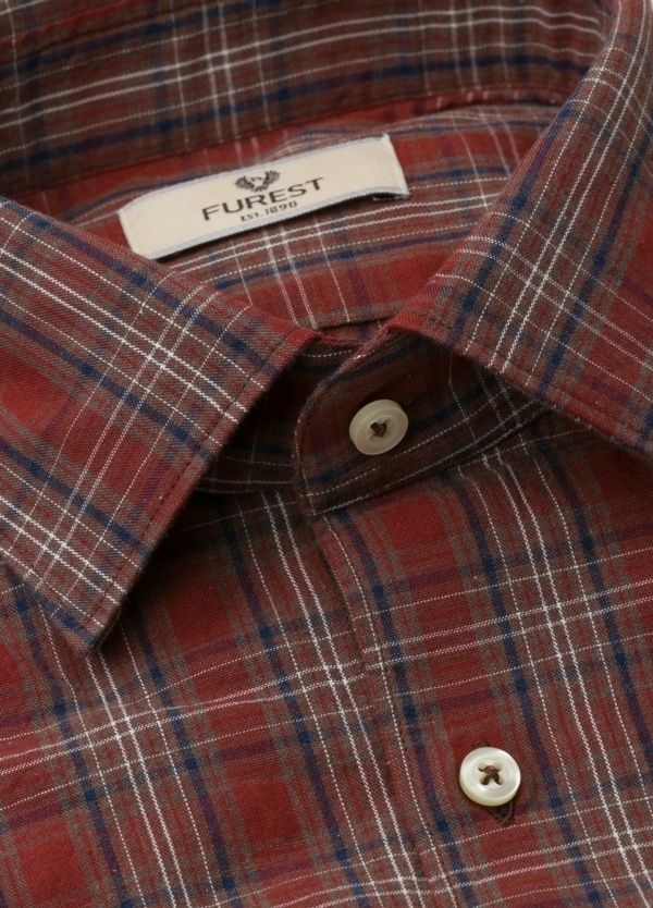 Camisa Leisure Wear REGULAR FIT modelo PORTO, cuadros granate, marrón. 100% Algodón. - Ítem3