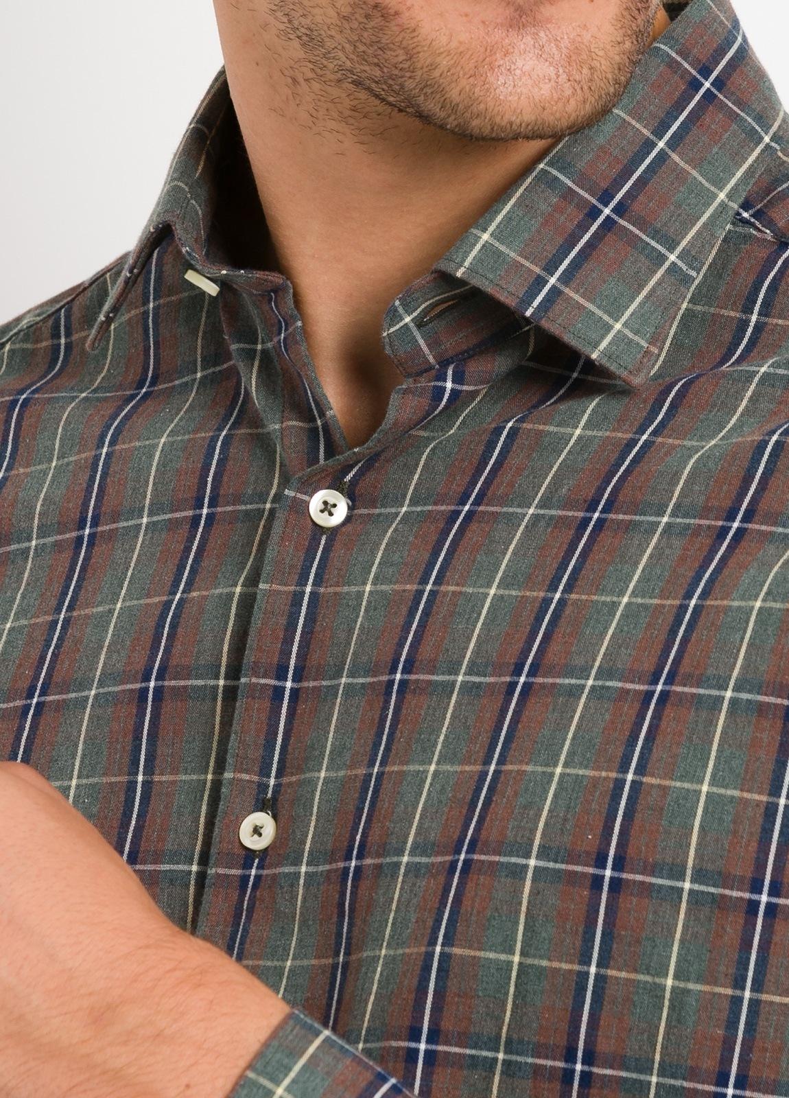 Camisa Leisure Wear REGULAR FIT modelo PORTO, cuadros gris, teja. 100% Algodón. - Ítem2