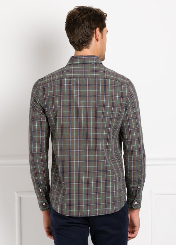 Camisa Leisure Wear REGULAR FIT modelo PORTO, cuadros gris, teja. 100% Algodón. - Ítem1