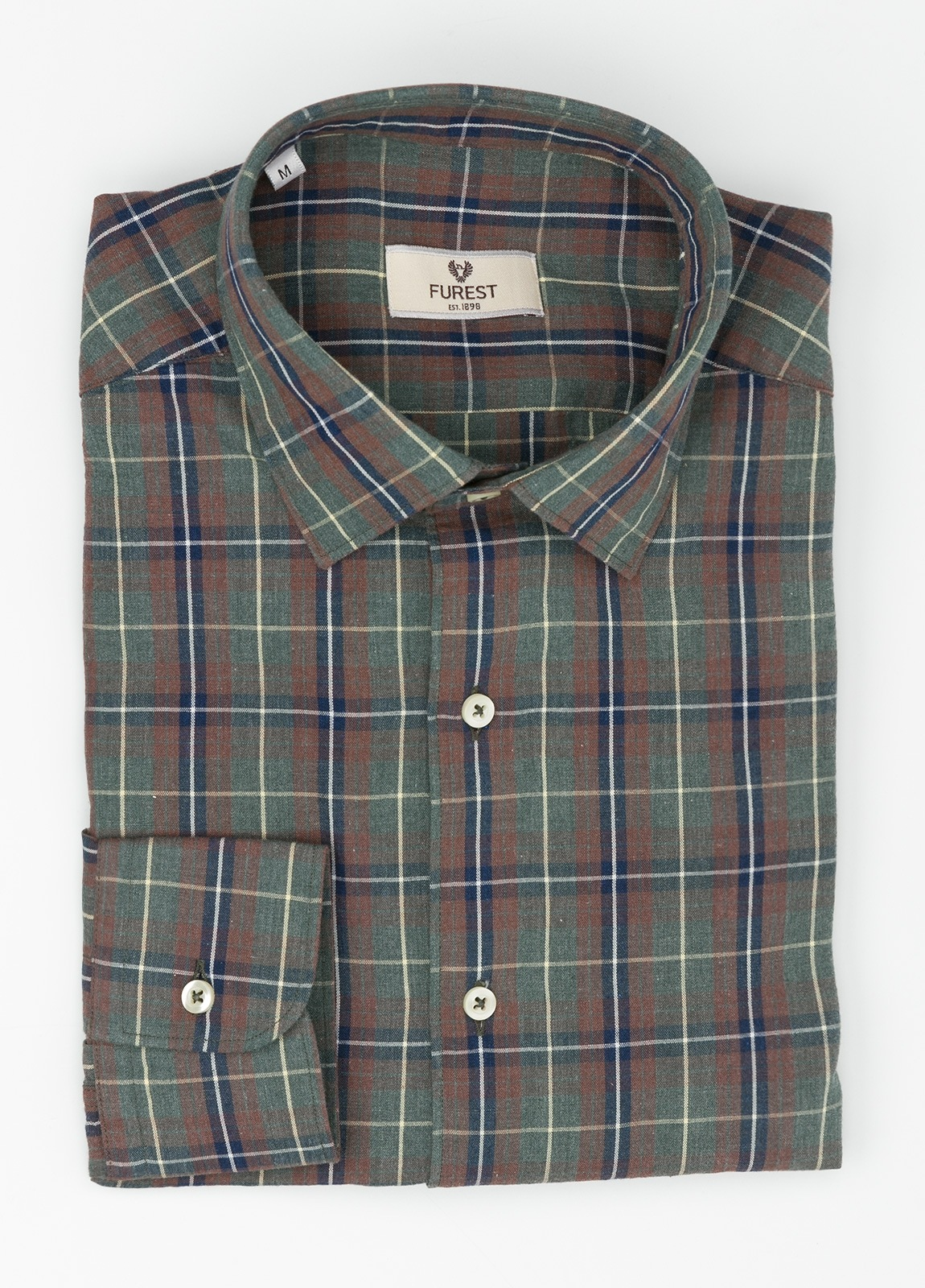 Camisa Leisure Wear REGULAR FIT modelo PORTO, cuadros gris, teja. 100% Algodón. - Ítem3