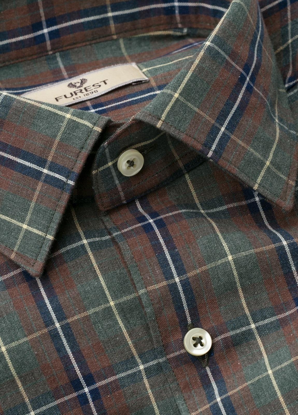Camisa Leisure Wear REGULAR FIT modelo PORTO, cuadros gris, teja. 100% Algodón. - Ítem4