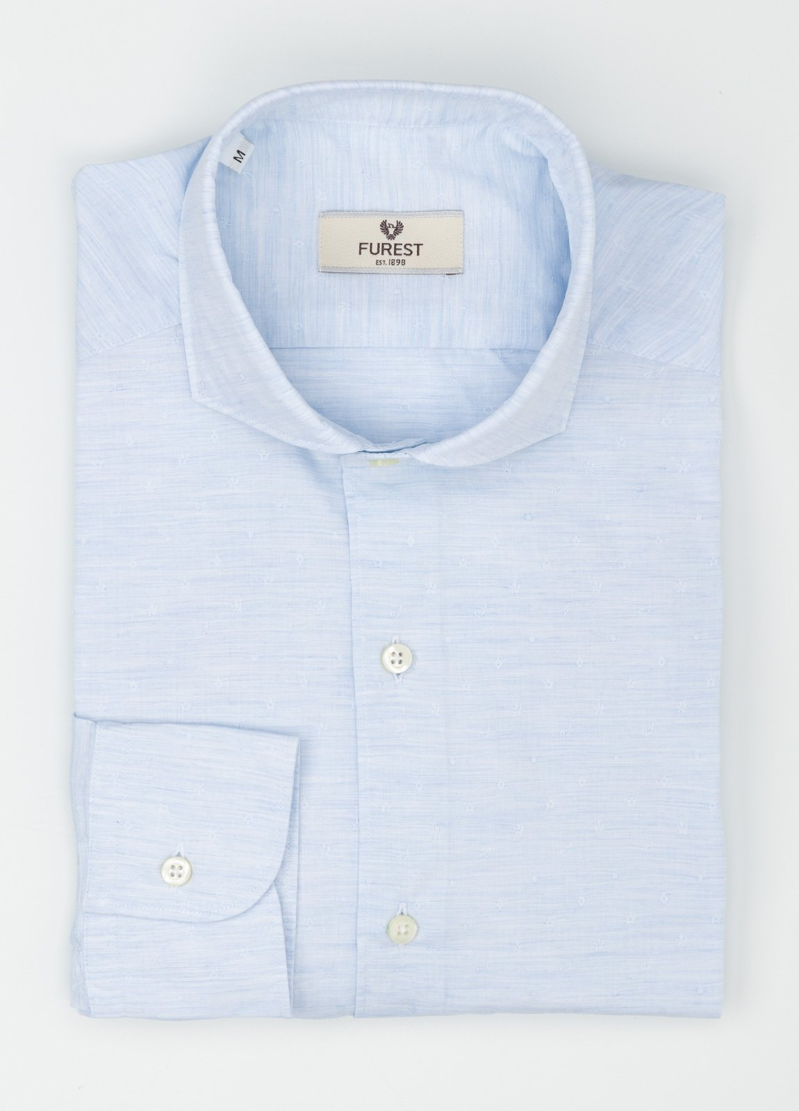 Camisa Leisure Wear SLIM FIT Modelo CAPRI tejido dibujo fantasía color celeste, 100% Algodón. - Ítem1