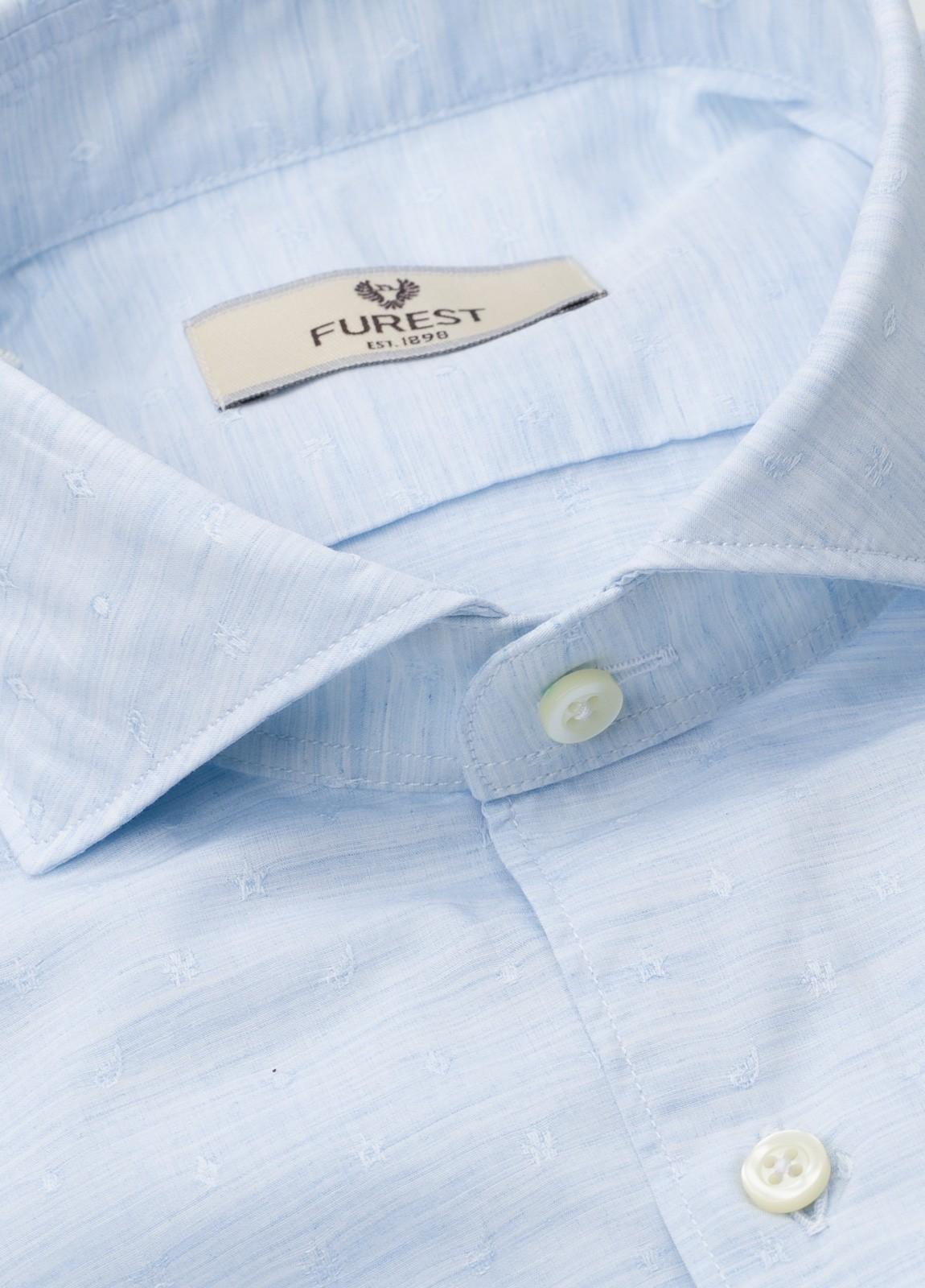 Camisa Leisure Wear SLIM FIT Modelo CAPRI tejido dibujo fantasía color celeste, 100% Algodón.