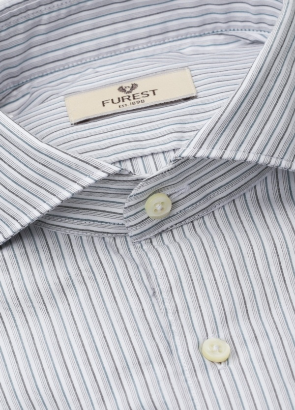 Camisa Leisure Wear SLIM FIT Modelo CAPRI, rayas azul, gris, 100% Algodón. - Ítem1