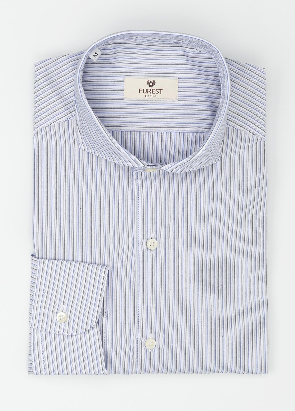Camisa Leisure Wear SLIM FIT Modelo CAPRI, rayas azul, gris, 100% Algodón.
