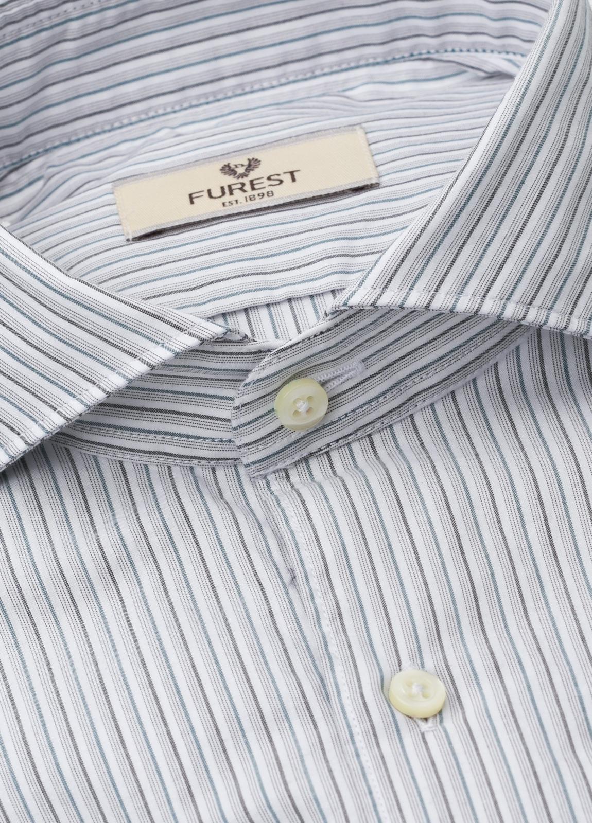 Camisa Leisure Wear SLIM FIT Modelo CAPRI, rayas gris, 100% Algodón. - Ítem1