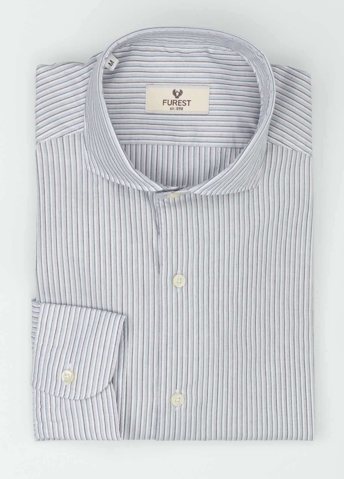 Camisa Leisure Wear SLIM FIT Modelo CAPRI, rayas gris, 100% Algodón.