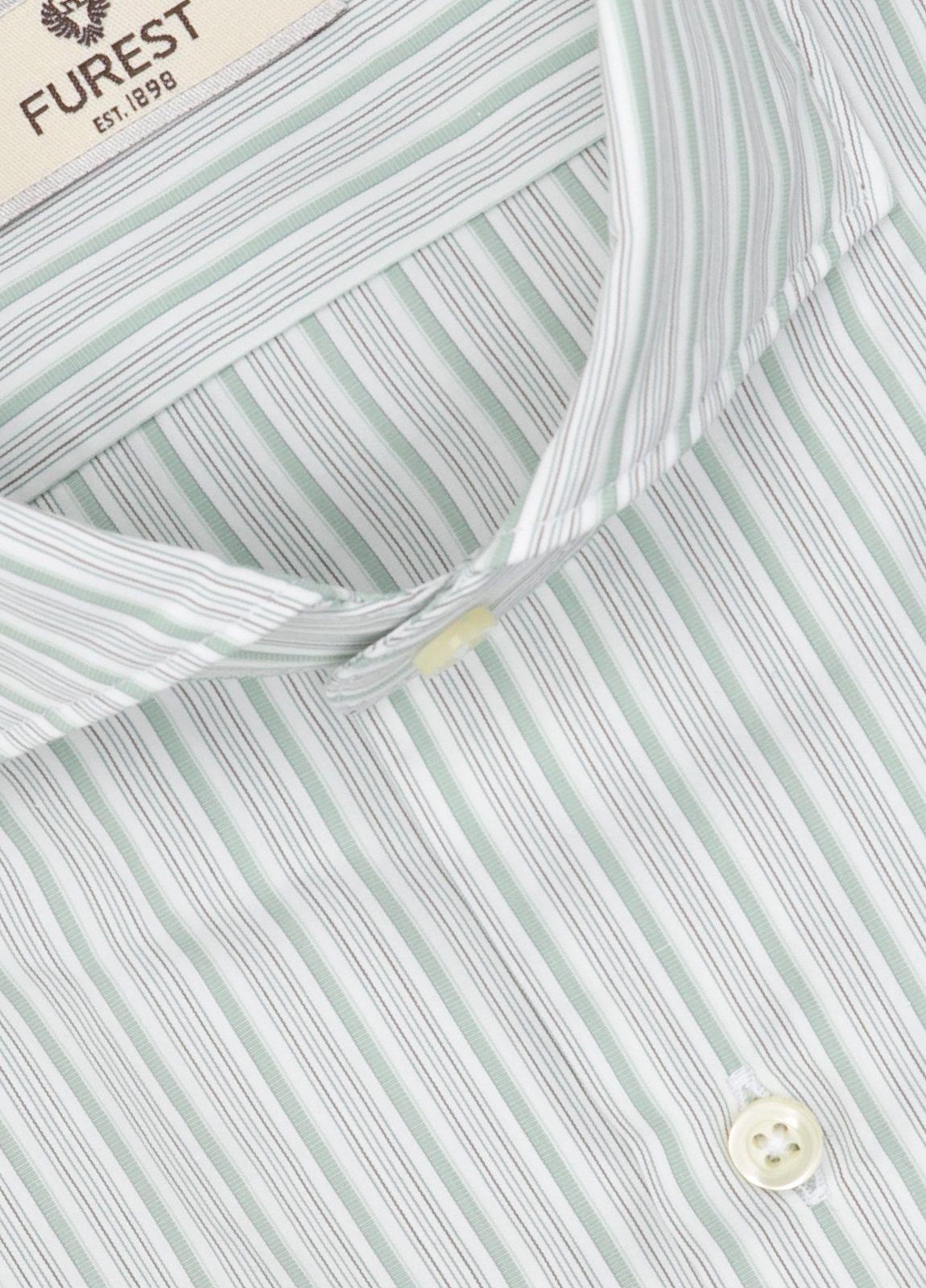 Camisa Leisure Wear SLIM FIT Modelo CAPRI, rayas verde, gris, 100% Algodón. - Ítem1