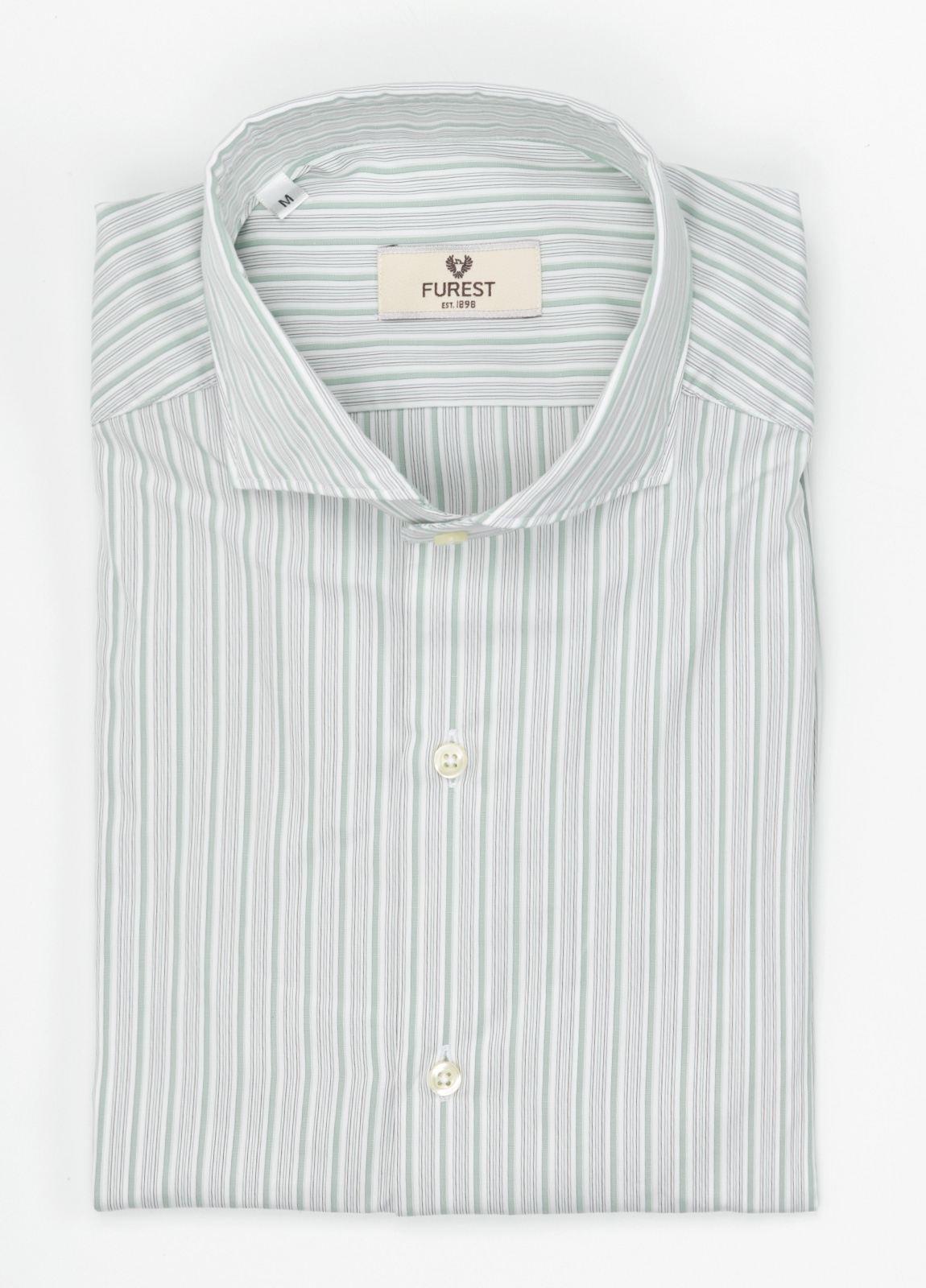 Camisa Leisure Wear SLIM FIT Modelo CAPRI, rayas verde, gris, 100% Algodón.