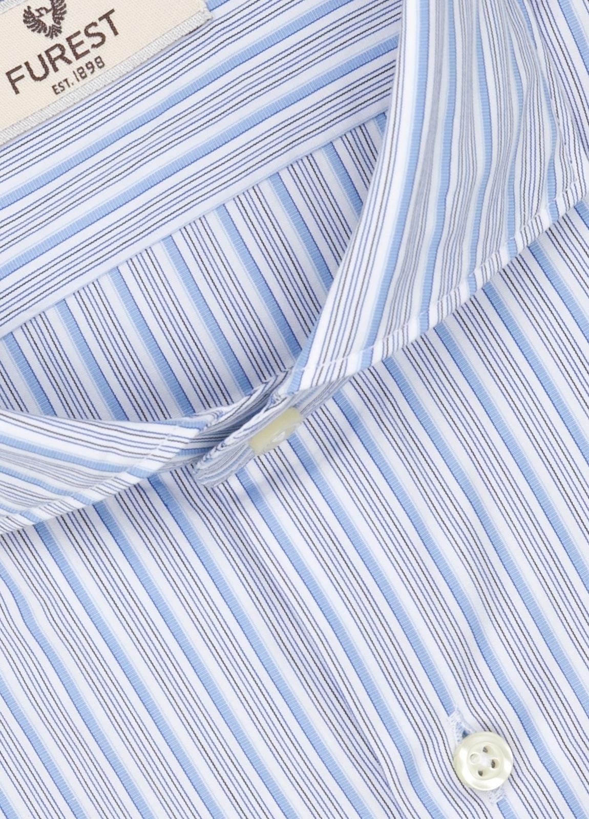Camisa Leisure Wear SLIM FIT Modelo CAPRI, rayas celeste, gris, 100% Algodón. - Ítem1