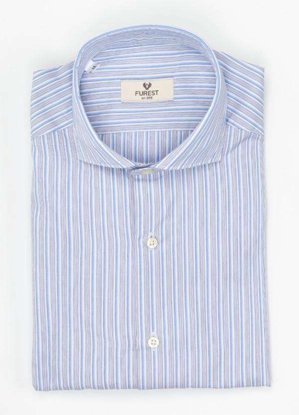 Camisa Leisure Wear SLIM FIT Modelo CAPRI, rayas celeste, gris, 100% Algodón.