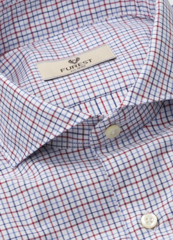 Camisa Leisure Wear SLIM FIT Modelo CAPRI, cuadros rojo, azul, 100% Algodón. - Ítem1