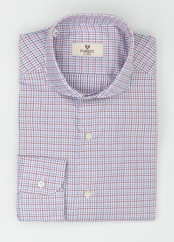 Camisa Leisure Wear SLIM FIT Modelo CAPRI, cuadros rojo, azul, 100% Algodón.