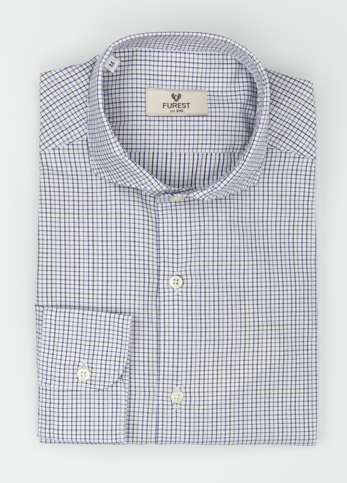 Camisa Leisure Wear SLIM FIT Modelo CAPRI, cuadros negro, azul, 100% Algodón.