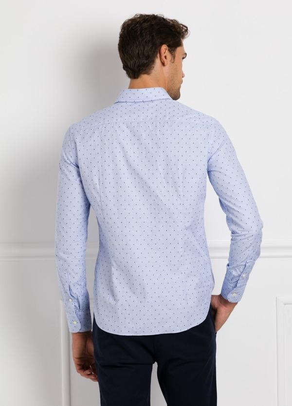 Camisa Leisure Wear SLIM FIT Modelo CAPRI, tejido dibujo fantasia jacquard color celeste, 100% Algodón. - Ítem1