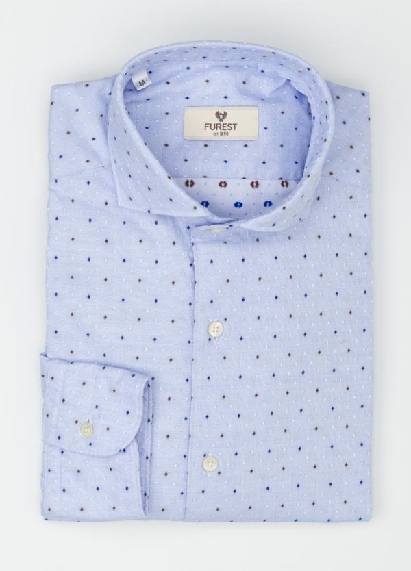 Camisa Leisure Wear SLIM FIT Modelo CAPRI, tejido dibujo fantasia jacquard color celeste, 100% Algodón. - Ítem2