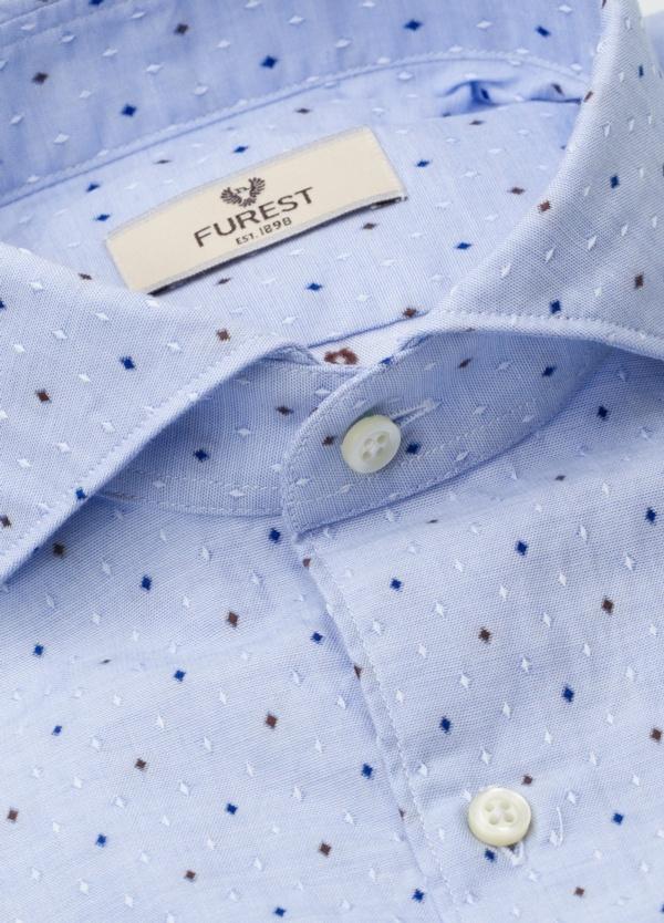Camisa Leisure Wear SLIM FIT Modelo CAPRI, tejido dibujo fantasia jacquard color celeste, 100% Algodón. - Ítem4