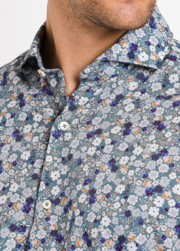 Camisa Leisure Wear SLIM FIT Modelo CAPRI tejido estampado flores color azul, 100% Algodón. - Ítem2