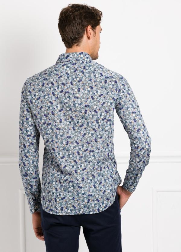 Camisa Leisure Wear SLIM FIT Modelo CAPRI tejido estampado flores color azul, 100% Algodón. - Ítem1